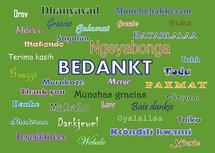 Bedankt, in talen (Ansichtkaart)