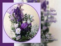 Felicitatie, paars boeket (Ansichtkaart)