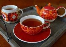 Oranje theeset (Ansichtkaart)