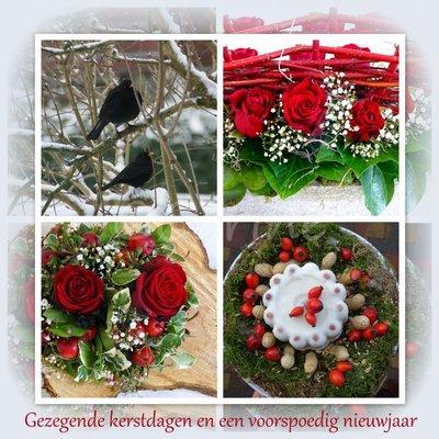 Kerstkaart in rood