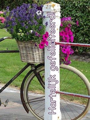 Felicitatie, fiets Ansichtkaart)