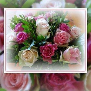 Roze rozenboeket
