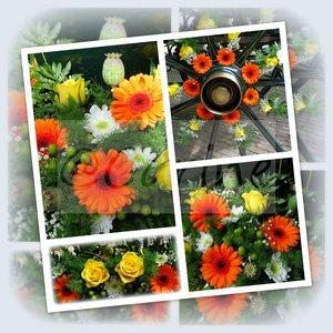 Wagenwiel met bloemen